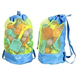EocuSun Large Mesh Beach Bag Tote Durable Sand Away Drawstring Beach Backpack Swim and Pool Toys Storage Bags Packs, Stay Away From Sand and Water