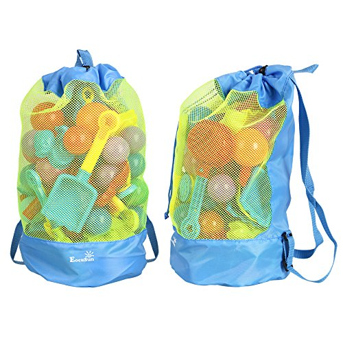 EocuSun Large Mesh Beach Bag Tote Durable Sand Away Drawstring Beach Backpack Swim and Pool Toys Storage Bags Packs, Stay Away From Sand and Water (Sky - Sky Big Sunglasses