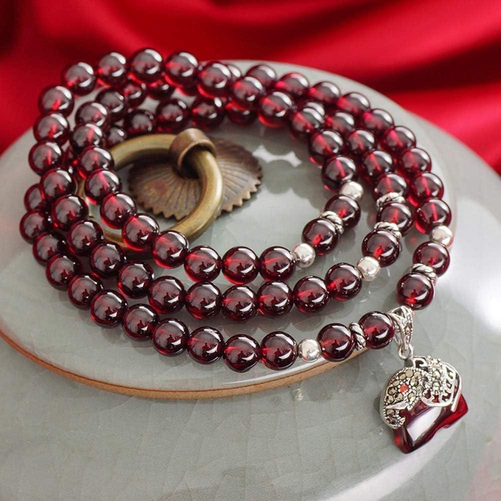 AK Personalidad Encanto Granate Pulsera Multi Loop Winding Adornos Exquisitos Vino Natural Rojo Joyería 925 Plata Mascota Colgante para Esposa Madre Hija