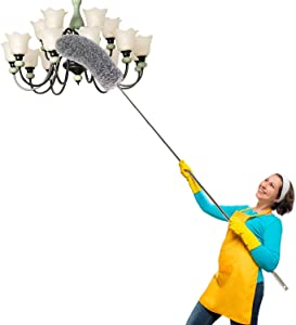 """Microfiber Duster, Feather Duster for Home, High Duster, Car Duster Exterior with Extension Pole 30"""" to 100"""" Extendable Long Handle Duster for Cleaning Ceiling Fan, Cobweb, Wall, Furniture"""