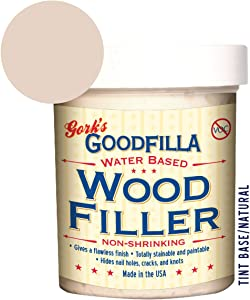 Water-Based Wood & Grain Filler - Base/Neutral - 8 oz By Goodfilla | Replace Every Filler & Putty | Repairs, Finishes & Patches | Paintable, Stainable, Sandable & Quick Drying