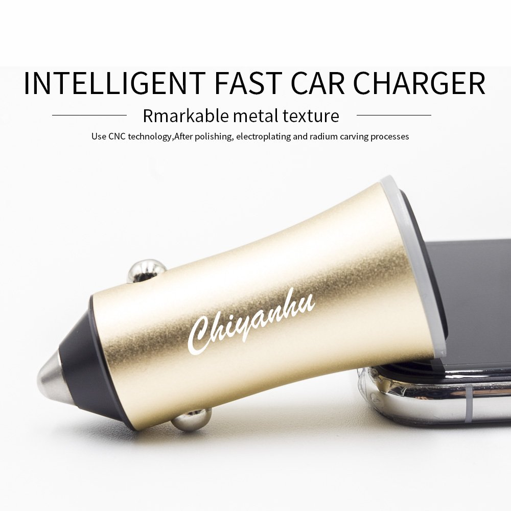 USB Car Charger Chiyanhu 24W 3.4A Metal Dual Car Adapter for S9/S8/S7/S6/Edge/Plus, Note 5/4, LG, Nexus, HTC with iSmart 2.0 Tech - Gold by TZF (Image #1)