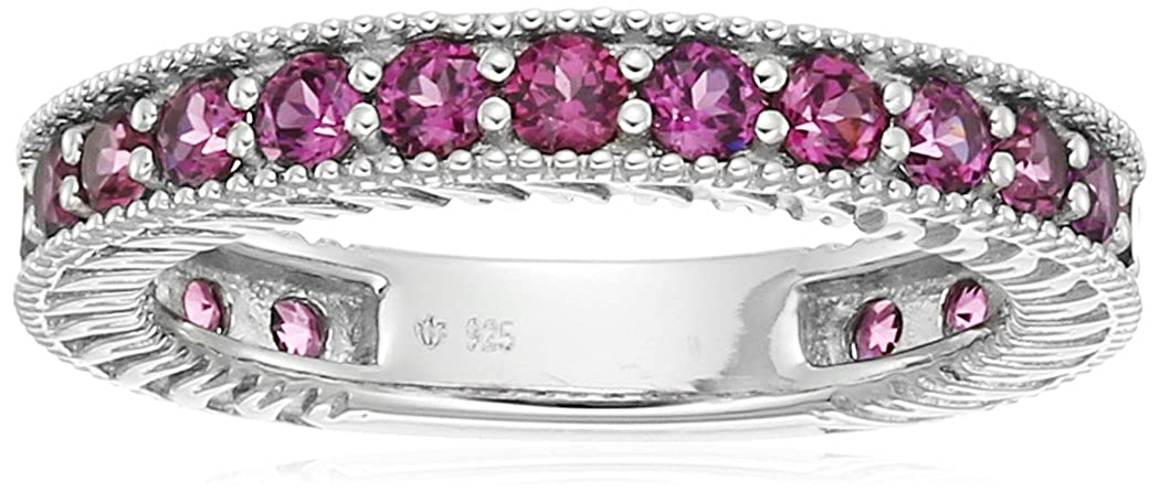 Sterling Silver Rhodolite Round Eternity Ring, Size 7 Amazon Collection R3911WRHOD