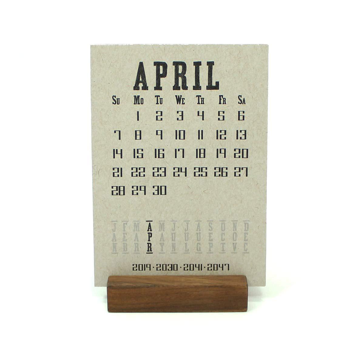 2019 Walnut Wood Block Desk Calendar Stand