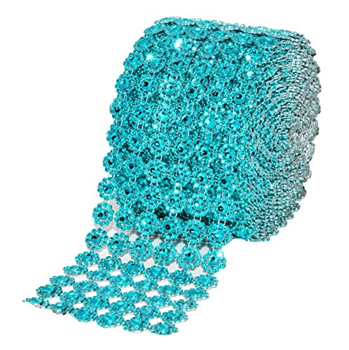 Mandala Crafts Faux Diamond Bling Wrap, Faux Rhinestone Crystal Mesh Ribbon Roll for Wedding, Party, Centerpiece, Cake, Vase Sparkling Decoration (Flower Pattern 4 Inches 10 Yards, Turquoise)
