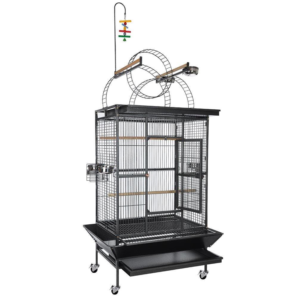 Yescom Large Parrot Bird Flight Finch Cage Macaws Pet Supply Aviary House w/ Free Toy Black Vein