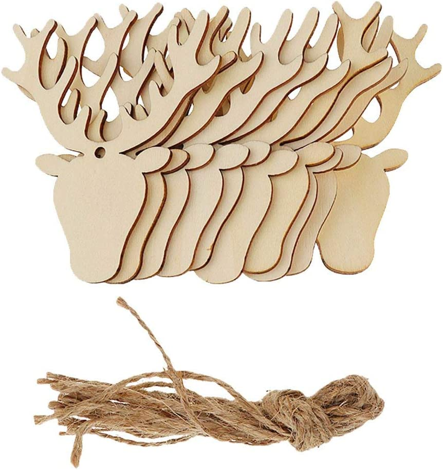 20pcs Christmas Tree Wooden Cutout Deer Tags Ornaments Hanging Wooden Tags