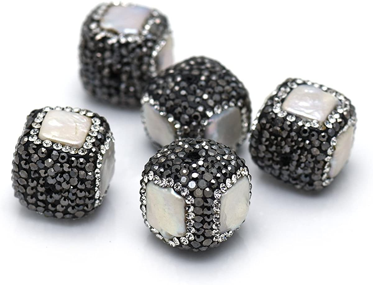 10Pcs Square Pave Rhinestone with Freshwater Pearl Earring Pendant Charm,Original Bracelet Spacer Bead Findings 17x17mm