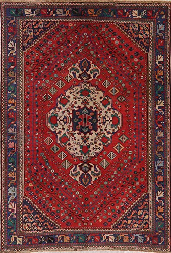 One-of-A-Kind Vintage Red Bakhtiari Persian Area Rug Oriental Hand-Knotted 7X10 Bakhtiari Hand Knotted Rug