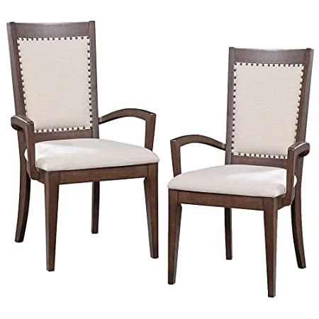Furniture At Home Food Wine Estate Collection Arm Chair, Set of 2, Dark Chocolate Walnut