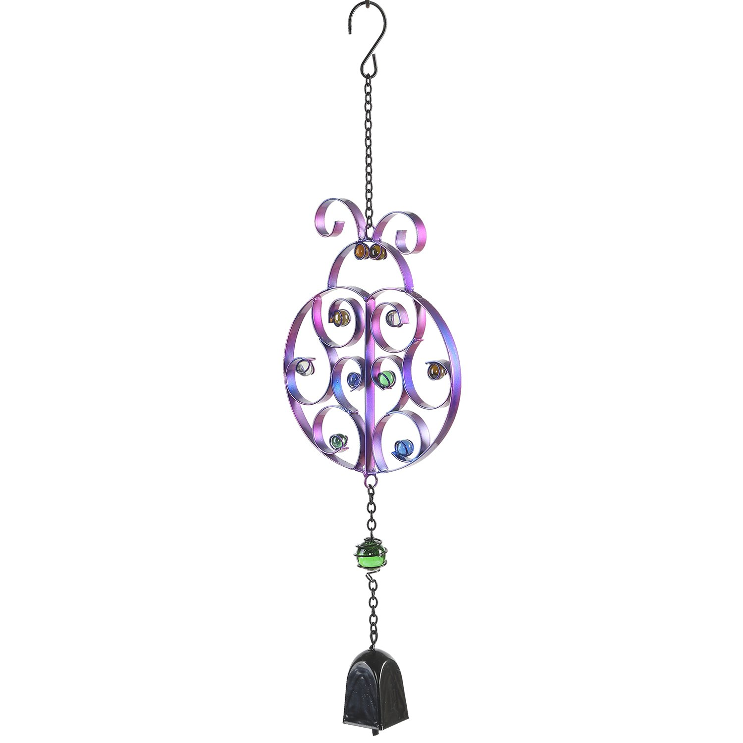 CEDAR HOME Wind Chime Unique Outdoor Indoor Hanging Mobile Bell Windchime for Garden Lawn Yard Patio Waterproof Metal Glass Home Decor, 7.75'' W x 1.5'' D x 20'' H, Ladybug
