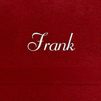Toalla de baño con nombres Frank bordados, 70 x 140 cm, color blanco,