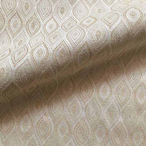 """Beige Bohemian Southwestern Ogee Jacquard Upholstery Fabric by The Yard - 54"""""""