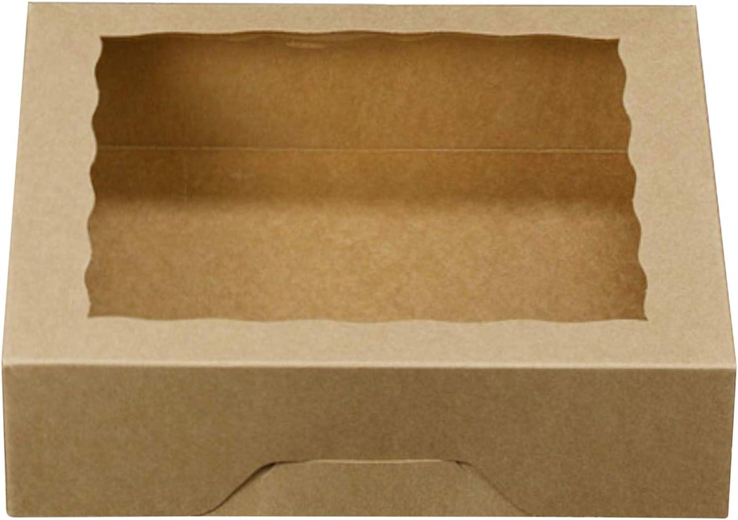 One More - Cajas de papel kraft para tartas con ventanas de PVC, 25,4 x 25,4 x 6,3 cm, 12 unidades, color marrón: Amazon.es: Hogar