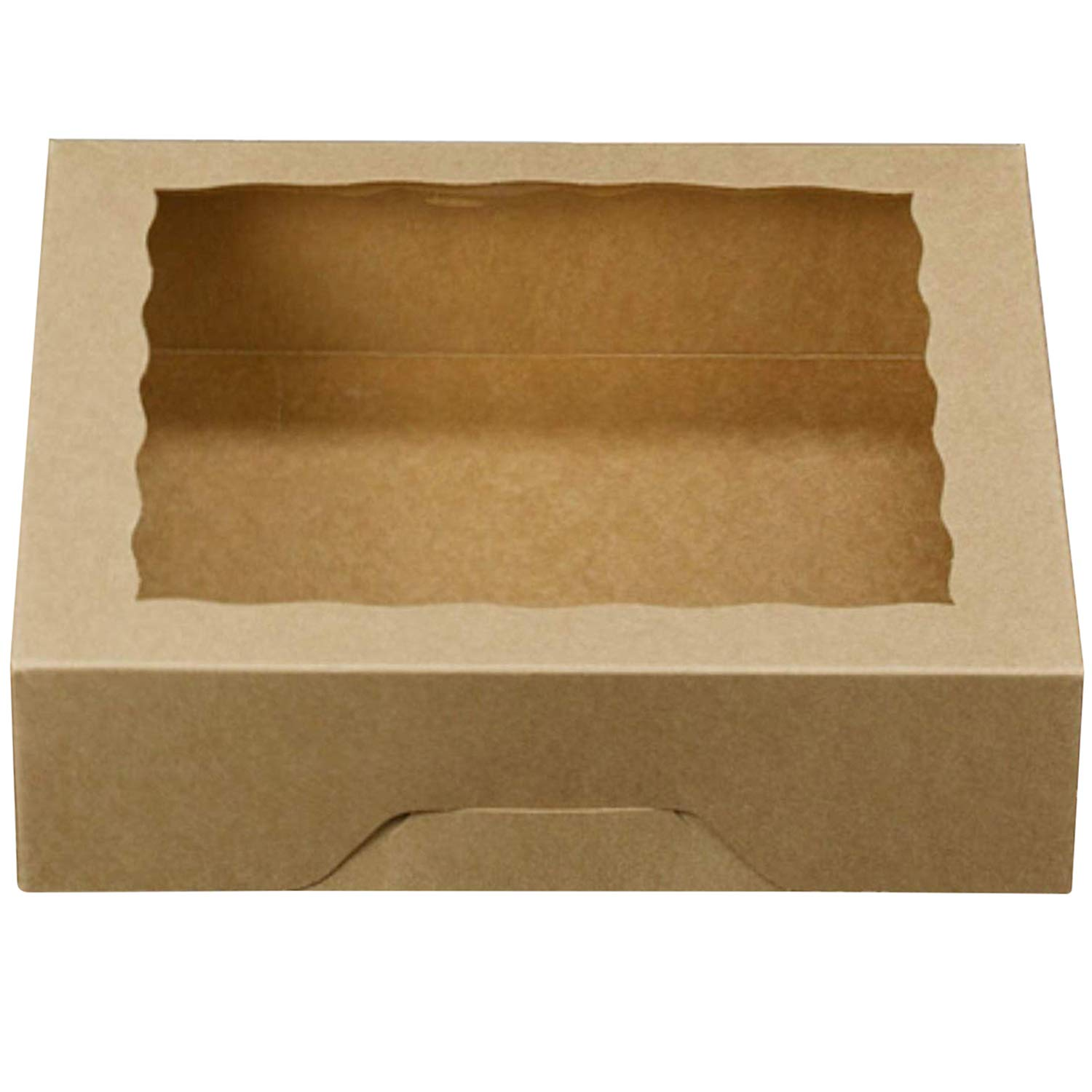 [25pcs]10inch Brown Natural Kraft Bakery Pie Boxes with PVC Windows,Large Cookie Box Disposable Cardboard Containers 10x10x2.5inch,25 of Pack
