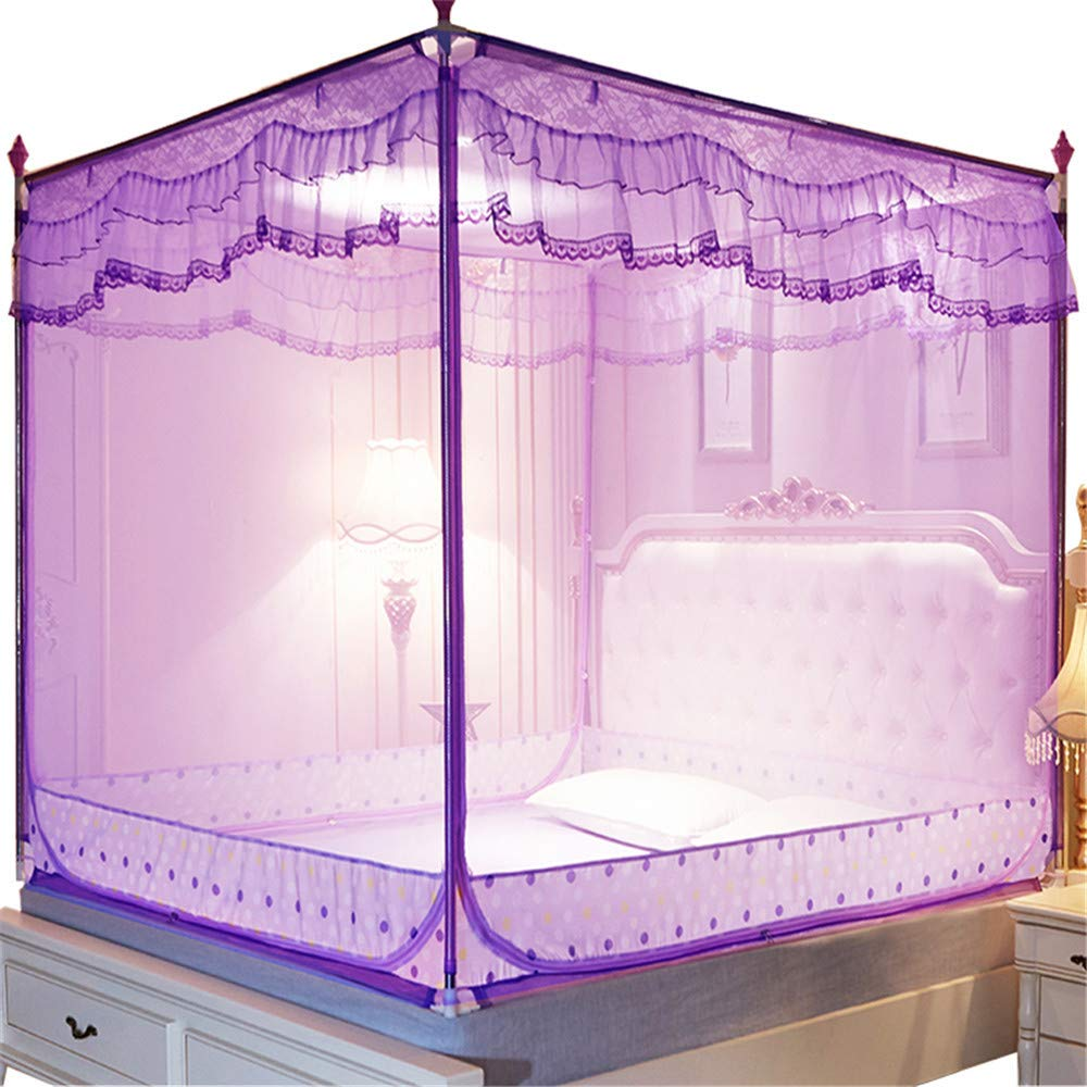 Mosquito net Bedroom Double Bed Insect-Proof Gauze Bills Children's Princess Wind Student Dormitory Summer Decoration Account, Purple, 1.2M by Lostryy-Mosquito Nets Baby (Image #1)