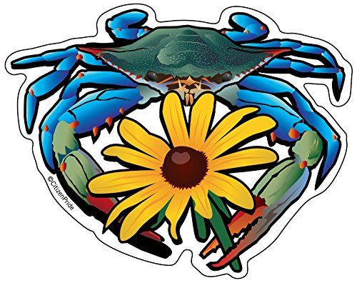 Citizen Pride Blue Crab Maryland Black-Eyed Susan 5x4 inches sticker decal die cut vinyl - Made in USA ()