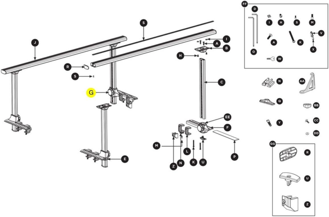 Thule Truck Rack Replacement Rack Clamp Knob 8523170001