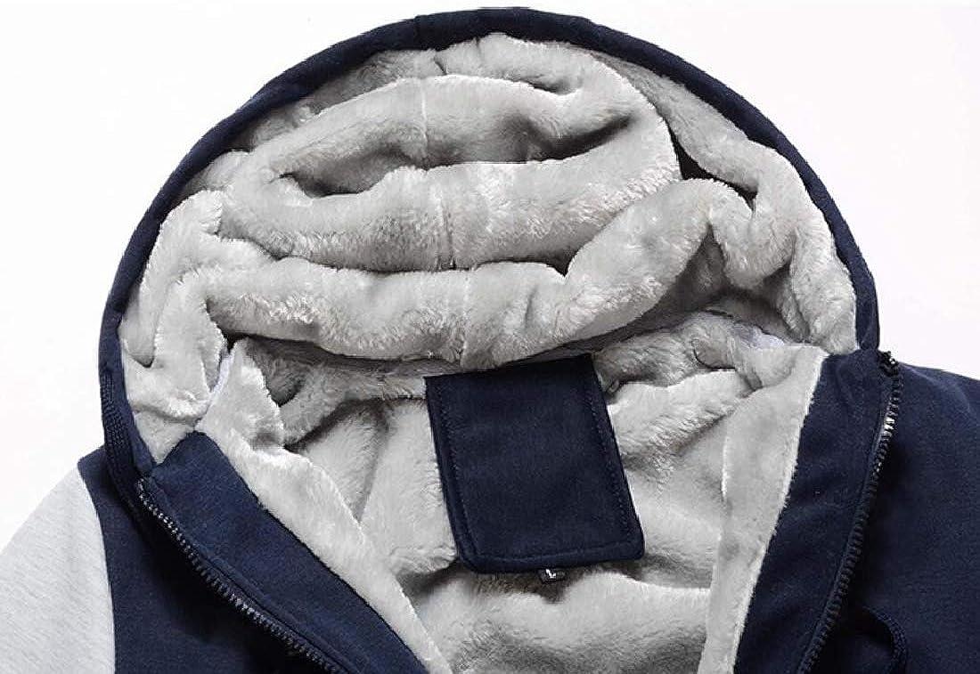 SHOWNO Mens Hooded Winter Zipper Outwear Lined Fleece Pockets Sweatshirt Jacket