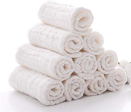 D/ébarbouillettes pour b/éb/és en bambou serviettes pour le visage de b/éb/é B/éb/é nouveau-n/é Serviette de Visage B/éb/é en mousseline Gants de Toilette 10pcs30 x 30 cm Baby Wash Cloths