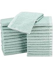 AmazonBasics Terry Cotton Washcloths - Pack of 24, Seafoam Green