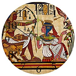 imobaby Vintage Ancient Egyptian Parchment Quartz Movement Silent Wall Clock Easy Readable Big Numbers Art Deco for Any Room in Home Dining Room Kitchen Office School