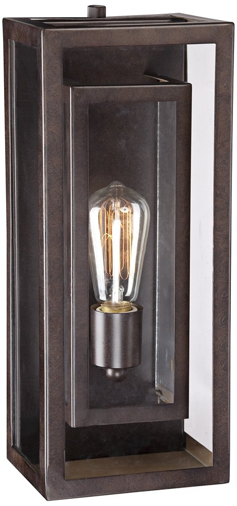 Double Box 15 1/2'' High Clear Glass and Bronze Wall Light by Possini Euro Design