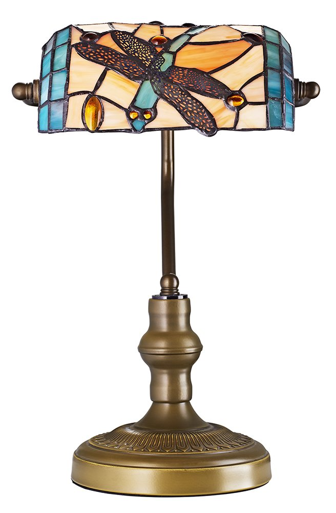 tiffany bankers desk lamp with multi coloured dragonfly glass shade by ebay. Black Bedroom Furniture Sets. Home Design Ideas