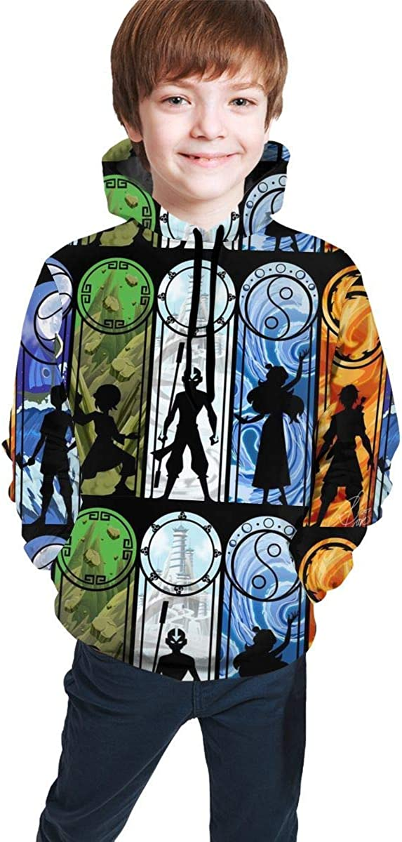 Hidend Sudaderas para Ni/ña Ni/ño,Sudadera con Capucha para Ni/ños Avatar The Last Legend Airbender of Korra Aang Fashion Teen Hooded Sweater Black