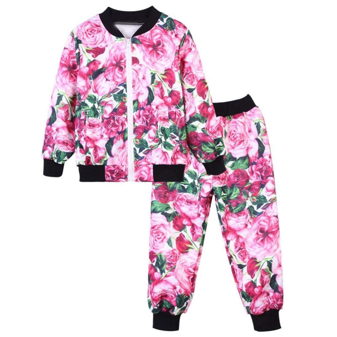 Little Kids Autumn Sweatshirt Sets,Jchen(TM) Toddler Child Floral Sport Tracksuit Outfits Little Boys Girls Long Sleeve Zipper Tops Coat Pants Set for 1-8 Y (Age: 6-7 T, Pink)