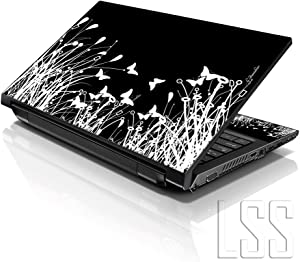 "Laptop Skin Shop 15 15.6 inch Laptop Notebook Skin Sticker Cover Art Decal Fits 13.3"" 14"" 15.6"" 16"" HP Dell Lenovo Apple Asus Acer Compaq (Free 2 Wrist Pad Included) Black & White Flowers"