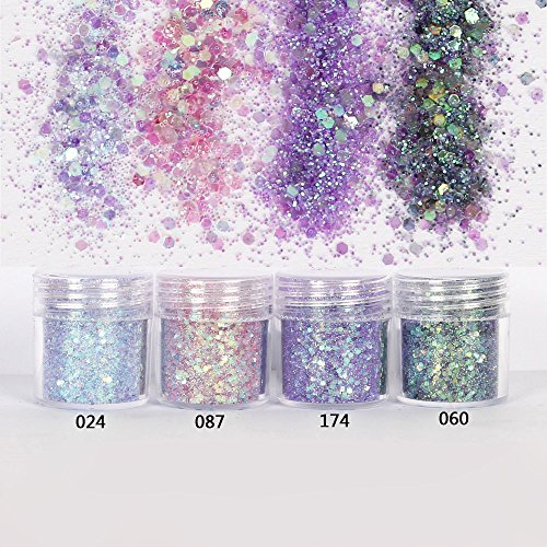 SaveStore Nail Art 1 Jar/Box 10ml Nail Colorful Pink Purple Mix Nail Glitter Powder Sequins Powder for Nail Art Decoration 300 Colors