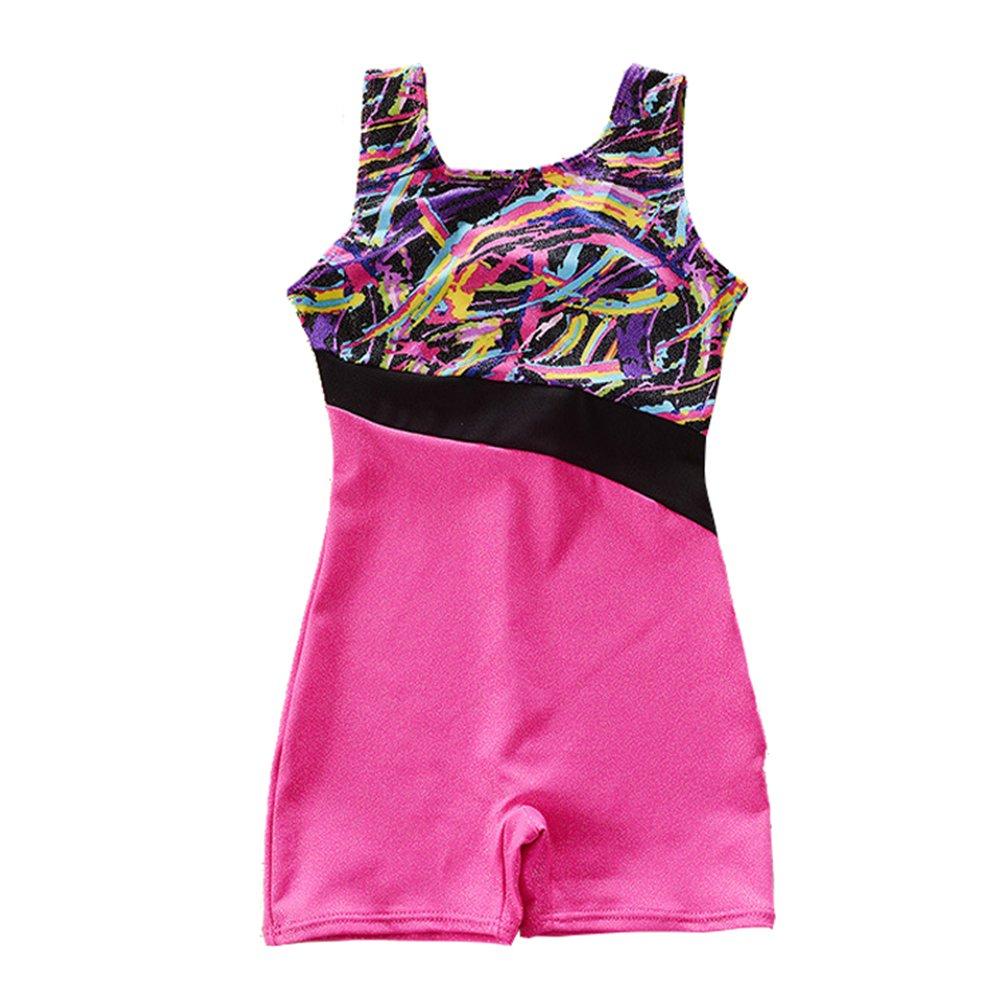 Girls Gymnastics Leotard Unitard Foil Print Metallic Princess Tank Biketard Purple Size 4(3-4 Years)