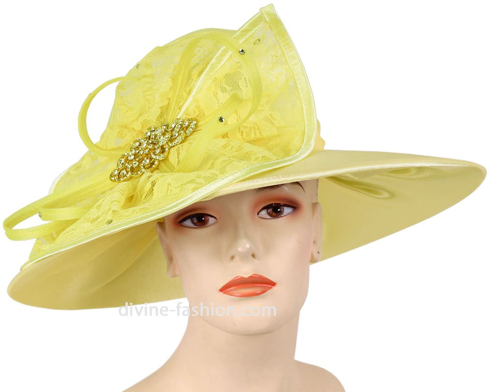 Ms. Divine Collection Women's Hats, Church Hat, Dressy Formal Hats #HL62 (Yellow)