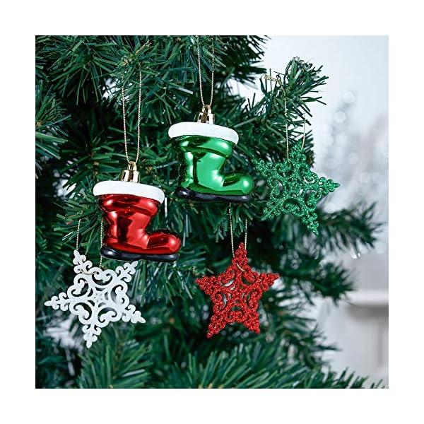 Valery Madelyn Palle di Natale 60 Pezzi di Palline di Natale, 3-4 cm Collezione Classica Ornamenti di Palle di Natale Infrangibili Rosso Verde e Bianco per la Decorazione Dell'Albero di Natale 5 spesavip