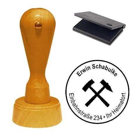 Adressenstempel « BERGBAU ZUNFT » mit Kissen Alte Berufe Firmenstempel Glück Auf Kumpel