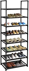 barsone 8-Tier Shoe Rack, 16-20 Pairs Sturdy Lightweight Shoe Tower Organizer Design for Small Narrow Space, Free Standing Shoe Shelf in Closet Entryway Hallway, Apartment (8-Tier(Black))
