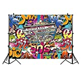Allenjoy 5x7ft Thin Vinyl Backdrop Hip-Hop Style Graffiti Design of 90's Fashion Alphabet Wall Background for Photography or Block Party Decoration
