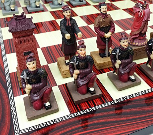 HPL Oriental Terra Cotta Terracotta Army Chess Set with 17
