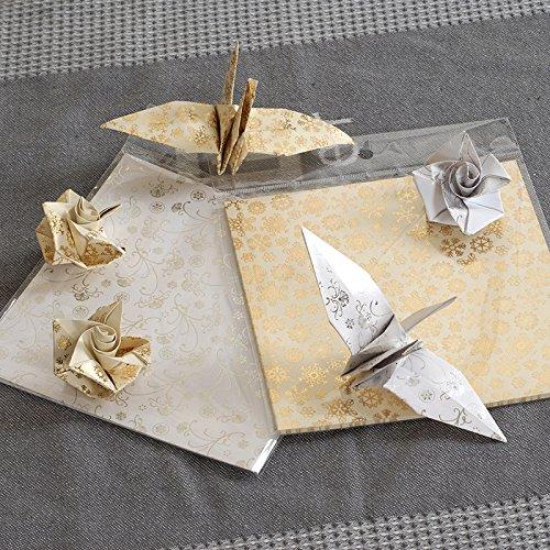 Carta origami, 80 pezzi 15x15cm Carta oro e Argento Origami per Carta Decorativa e Mestieri di Carta con Fiori e Fiocchi di Neve Amison