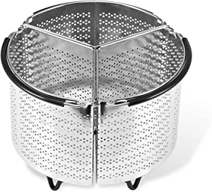3-Pcs Divided Steamer Basket for Pressure Cooker Compatible with Instant Pot Accessories Ninja Foodi Other Multi Cookers, Strainer Insert Can Cook 3-in-1 with Silicone Covered Handle - (6 Qt)