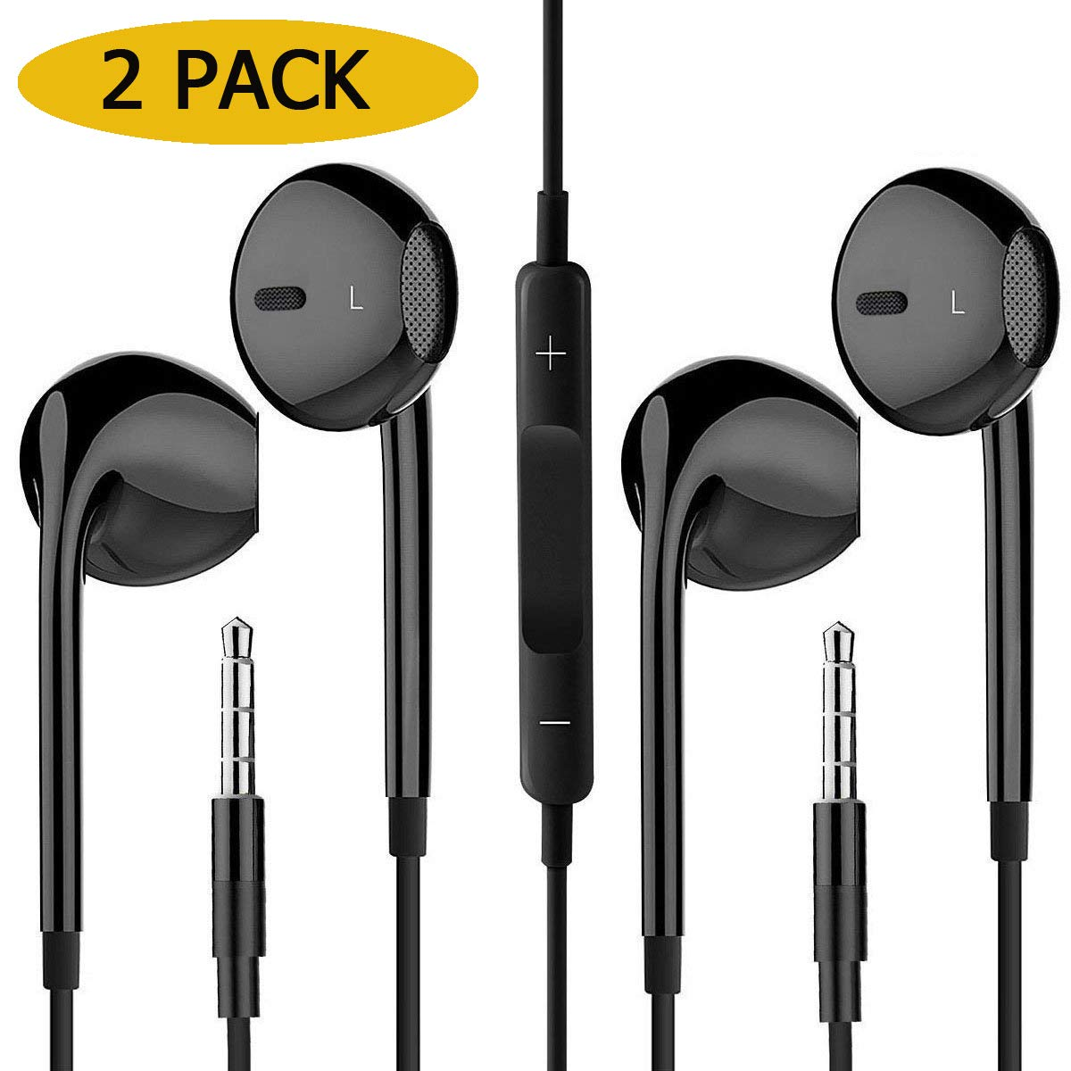 VOWSVOWS 2-Pack Premium Earphones/Earbuds/Headphones with Stereo Mic&Remote Control Compatible iPhone iPad iPod Samsung Galaxy and More Android Smartphones Compatible with 3.5 mm Headphone Black