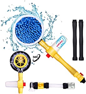 Fochutech Car Wash Brush, Car Cleaning Kit, 360° Spin Car Mop, Microfiber Car Cleaning Brush, Detachable & Extendable Scrub Brush, Garden Hose Spray Nozzle Spray Gun For Car Home Cleaning & Garden Use