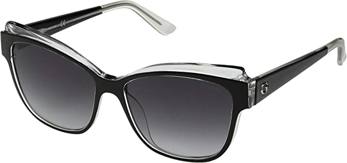 c79ede17201 GUESS Women's GU7592 Black/Crystal Front/Smoke Gradient Lens One ...