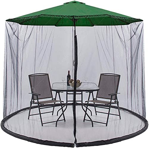 Easylee Outdoor Patio 9 Umbrella Cover Mosquito Netting Table Screen with Zippered Net Canopy Mesh, Height and Diameter Adjustable Fits 9FT Umbrellas, Black