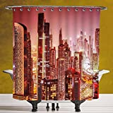SCOCICI Fun Shower Curtain 3.0 by [Cityscape,Dubai at Night Cityscape with Tall Skyscrapers Panorama Picture Arabian Peninsula,Pink Gold ] Digital Print Polyester Fabric Bathroom Set