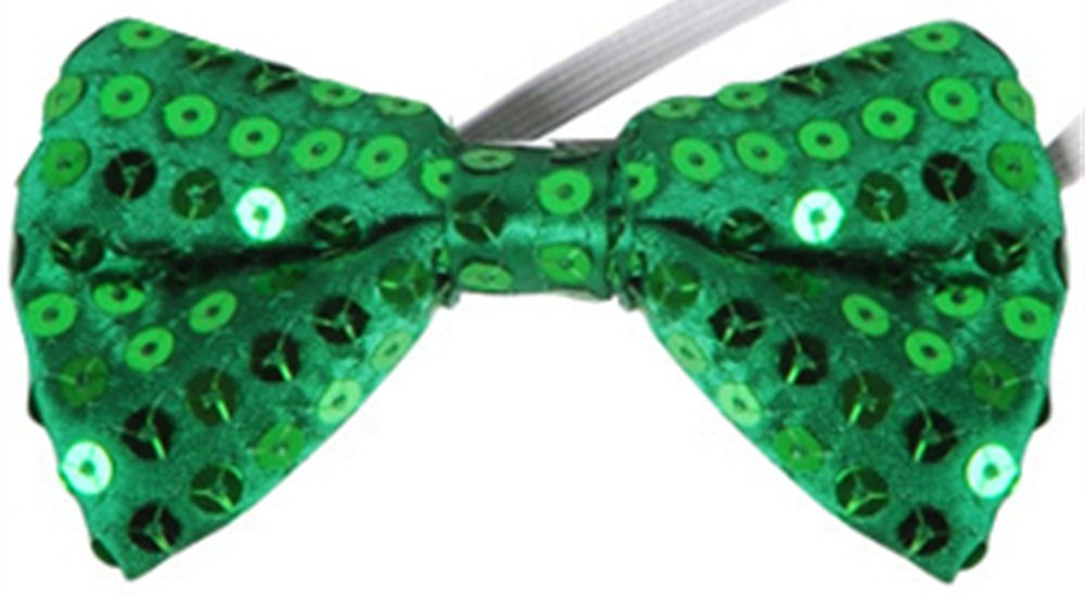 Green St. Patricks Day Leprechaun Costume Accessory Sequin Bowtie Bow Tie