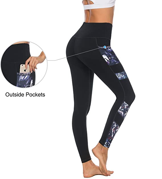 51f7d1ed07d2c Persit Yoga Pants for Women High Waisted Workout Mesh Leggings with Pockets  Black