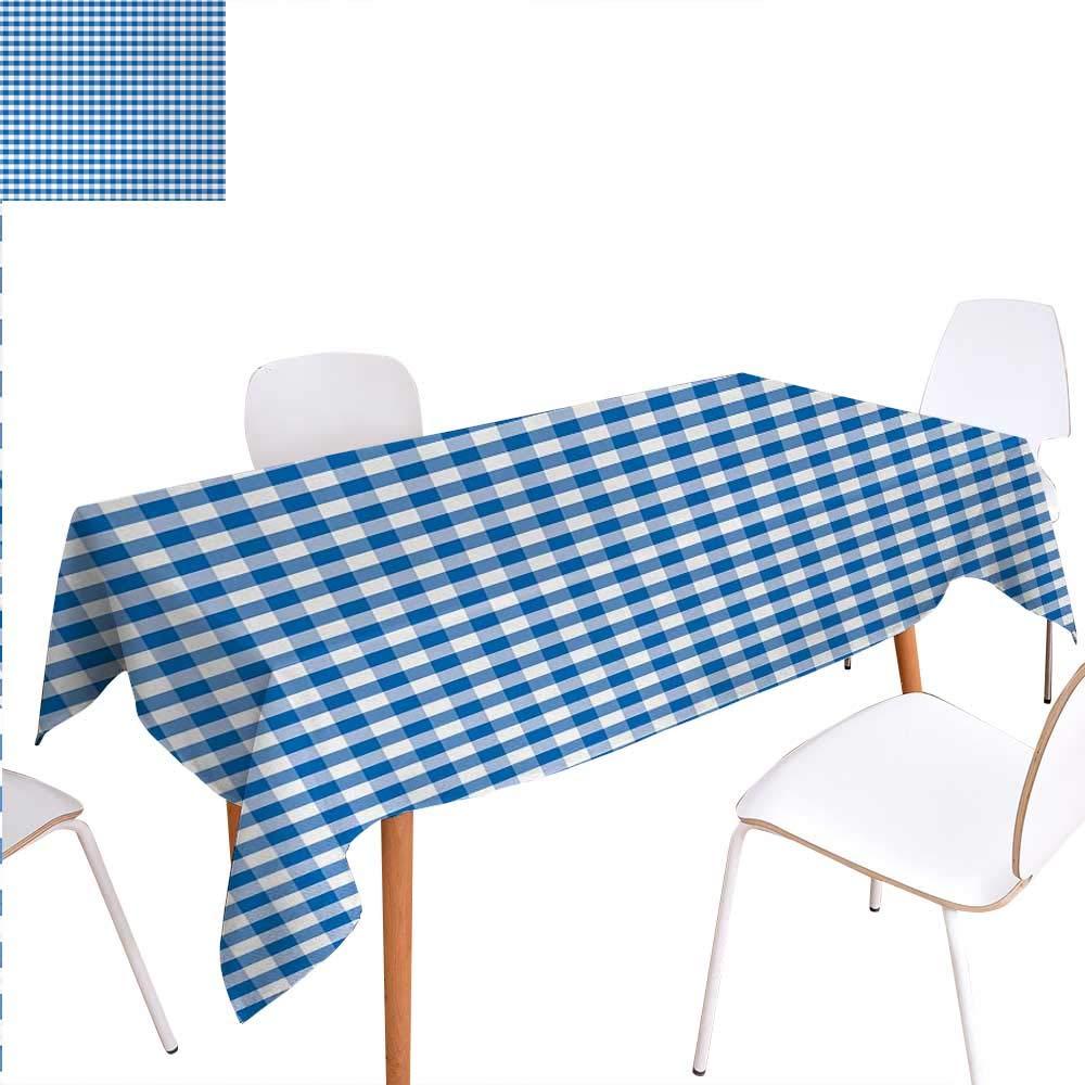 暖かいファミリーチェック柄ディナーピクニックテーブルクロス リトルスクエアとストライプ パステルカラー ギンガムリピートローヴィンテージタイル 防水テーブルカバー キッチン用 50インチx80インチ ペールブルーホワイト W60