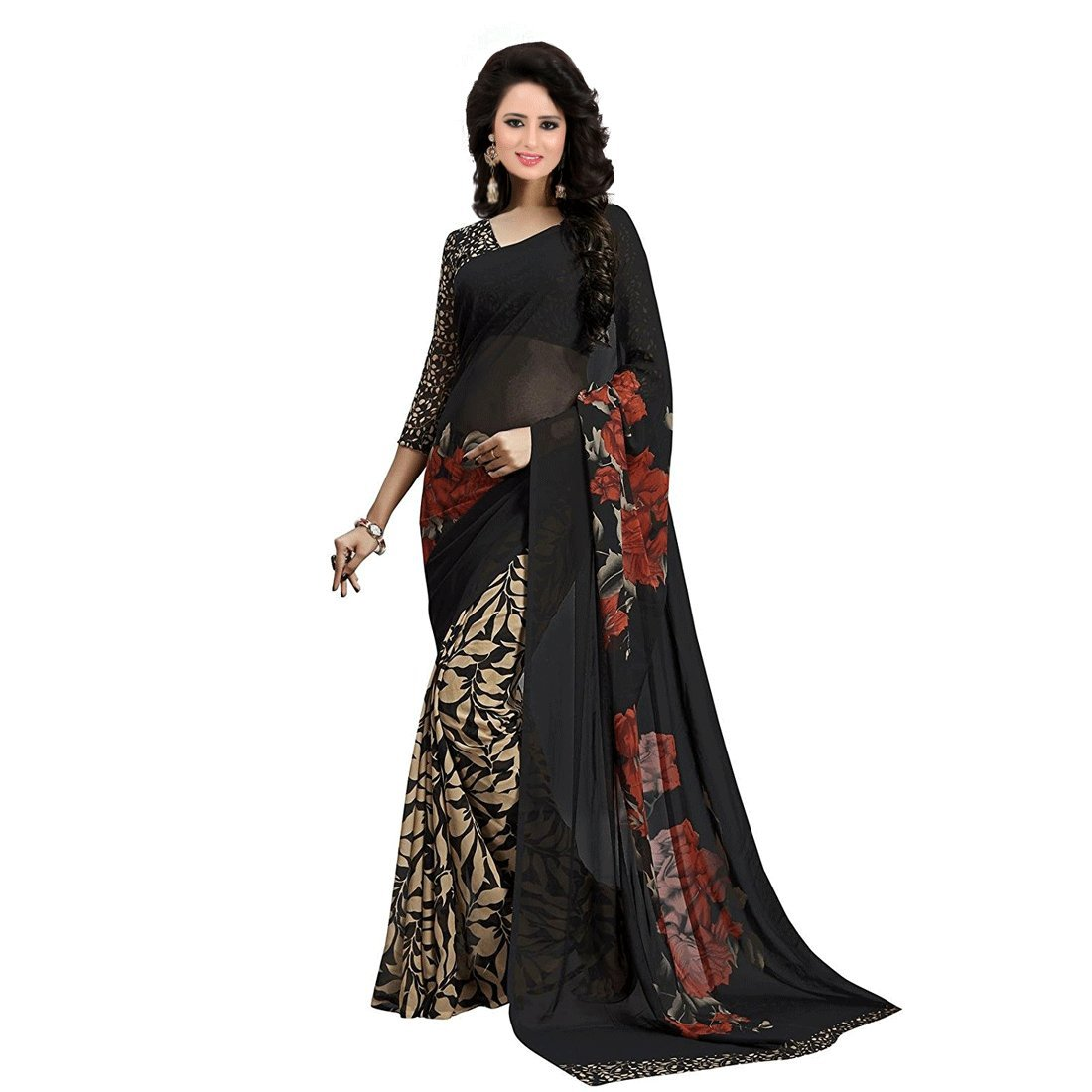 Shonaya Women`S Black Colour Georgette Printed Saree with Unstitched Blouse Piece ROSY-BLACK